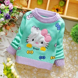 Wholesale Little Baby Girls Sweaters For Autumn New Arrival Korean Cartoon Cut Cat Sweet Long Sleeve Children Sweaters Pullover Clothing Retail