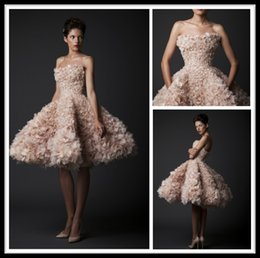 Wholesale Krikor Jabotian Champagne A line Knee Length Ruffles Tulle Short Cocktail Dresses Party Gown Cheap Celebrity Little Homecoming Dresses