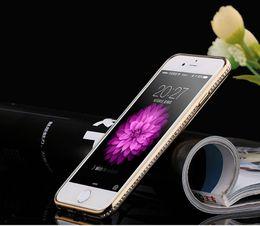 Wholesale Dernières bord pour iPhone6 de forage au diamant coquille téléphone d Apple plaqué or rose cadre TPU couvercle de protection style de mode Livraison gratuite