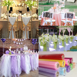 Wholesale 115m Romantic Organza Chairs Covers Wedding Decorations Table Sashes Bows Prom Party Supplies cm Width Red Purple Pink
