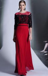 Wholesale 2015 How I Met Your Mother Red Chiffon Lace Beaded Mother of Bride Dresses Made in China