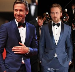 Wholesale Slim Fit Navy Blue Groom Tuxedos Shawl Lapel Two Buttons Best Men Groomsmen Wedding Suits Men s Suits For Prom Party Jacket Pants Bow
