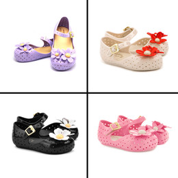 Wholesale 30pairs summer style children sandal Mini Melissa girls beach shoes cute flower soft bottom kids shoes HX