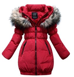Wholesale Red Retail winter down jackets for girls warm Fur collar winter coat girl down coat White duck down