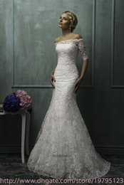Wholesale 2015 Sheer Lace Wedding Dresses With Bolero Wrap Off Shoulder Half Sleeves Applique Mermaid Detached Train Formal Bridal Gowns AS1263