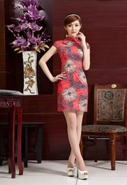 Wholesale Red Floral cheongsam oriental dresses cheongsam Women chinese traditional clothing blend cotton Qipao dresses