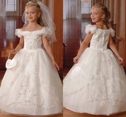 Wholesale 2015 Real Image Lovely Flower Girl Dress Off Shoulder Zipper Full length Ball Gown Lace Organza Stain First communion dress