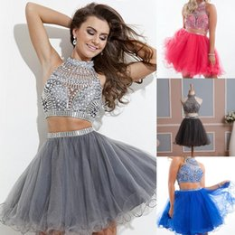 Wholesale In Stock Homecoming Dress Two Pieces Tulle Graduation Dresses with Rhinestones High Neck Short Prom Gowns Real Pictures Gray Blue White