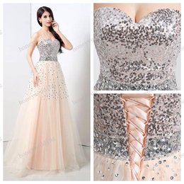 Wholesale Real Image Stock Prom Evening Dress Sweetheart Sequins Crystal Pink Evening Gowns Bridesmaid Dresses Cheap Christmas dresses