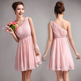 Wholesale Lovley Pink Short Junior Bridesmaid Dresses Cheap One Shoulder Short Prom Dress Greek Goddess Backless Mini Chiffon Party Formal Dress