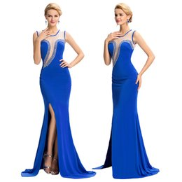Wholesale Under Grace Karin Sexy Blue High Split See Through Back Ball Gown Evening Prom Party Bridesmaids Dress Size US GK000051
