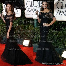 Wholesale 2014 Golden Globe Awards Penelope Cruz Trumpet Mermaid Off the shoulder Court Train Black Celebrity Dresses with Short Lace Sleeve