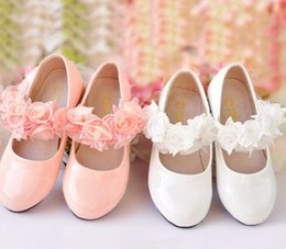 Wholesale Girls PU Leather Shoe Children White Pink Rose Flowers Formal Dress Shoes Big Kids Flat Footwear For Party Yard I4325