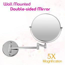 New Bathroom Mirror 8 Inch Wall Mounted Extending Folding Double Side 5x Magnification Mirror For Makeup Cosmetic