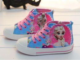 Wholesale 2015 frozen New Elsa and Seven princess princess graffiti canvas shoes women girl lace up sneakers Cartoon canvas shoes B001