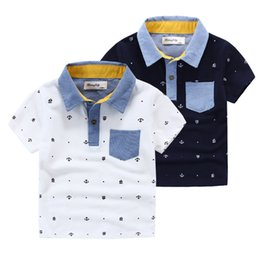 Wholesale Hot quality Brand applique collar anchor pinrt boys Polo shirts short sleeve cotton boy knitted Polos Children clothing Kids years