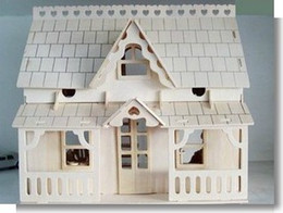 Wholesale Educational Large Porch House Wooden 3d Building Miniature Scale Models
