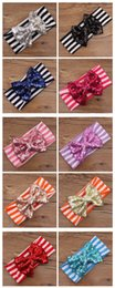 Wholesale Fedex Free Ship New girls Bow headbands baby sequins bowknot headband girls Striped cotton headbands baby Handmade headbands PC