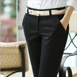 Discount Women Long Slim Office Pants | 2017 Women Long Slim ...