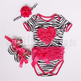 Wholesale Summer Baby girl clothes Cotton Zebra Rose red love Short sleeve Bodysuits Jumpsuit Toddler shoes Headband Baby clothing set