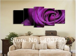 Wholesale 5panels fengshui pure hand painted oil paintings purple rose for decoration