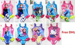Wholesale 10Color Kids Princess Anna Elsa One Piece Swimsuit Cute Baby Kids Tutu Swimwear Girls Cartoon Bikini Children Beach Swimming Clothing By DHL