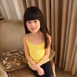 Wholesale 2015 new spring and summer kids tops girls vests Korean Girls lace halter top girls Solid personal vests