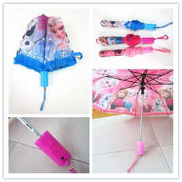 Wholesale Frozen cartoon umbrella Anna Elsa Olaf children s lace short Sorbet folding umbrella princess pupils