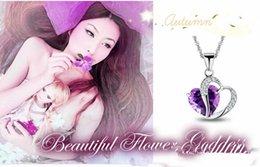 1000pcs Big desconto elegante Lady prata esterlina 925 Purple Heart forma pingente de cristal Amethyst para acessórios de jóias colar