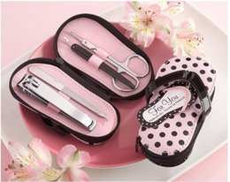 Wholesale 50set Vogue Pink Polka Purse Slippers Nail Care Personal Manicure Pedicure Set Travel Grooming Kit Wedding Party Favors