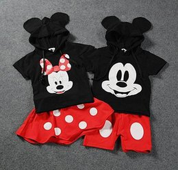 Wholesale Baby Kids suit Boys Girls mickey Minnie summer Cartoon Mouse T Shirt hoodie cute printing cotton children sets polka dots Jacket and pants