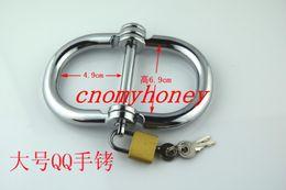 Wholesale 2015 New luxury bondage male female size to choose lockable handcuff wrist restraint chastity devices belt