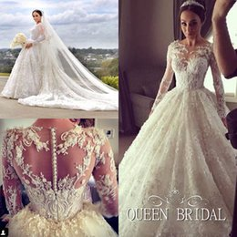 Wholesale Custom Made Long Sleeve Wedding Dresses Ball Gown Long Train Princess Heavy Handmade Appliques Lace Wedding Dresses QUEEN BRIDAL