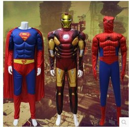 Wholesale Party Clothing Iron man spiderman Superman Captain America cosplay muscle Halloween Costume adult men