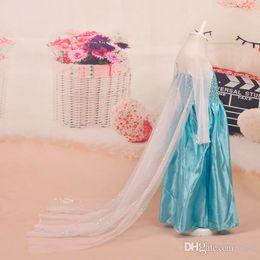 Wholesale New fashion girls Frozen elsa dress Frozen Costume Elsa princess Dress With White Lace Wape Girls Dresses little girl kids dress