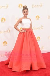 Wholesale Sarah Hyland Celebrity Dresses th Emmy Awards Prom Dresses Two Piece Orange Skirt And White Top Ball Gown Red Carpet Gowns BO6867