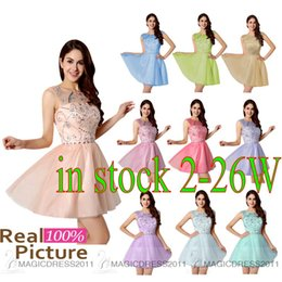 Wholesale Lovely Short Homecoming Dresses Sheer Neck Custom Made Prom Party Gowns A Line Beaded Pink Coral Blue Lilac Green Cocktail Graduation Dress