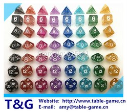 Los dientes del brillo de las ventas al por mayor 7pc / set fijaron D4,6,8,10,10%, 12,20 para las mazmorras y los dragones, Dd del juego de mesa