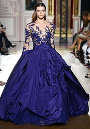 Wholesale New Style Zuhair Murad Prom Dress Royal blue Long Sleeve Applique Formal Evening Gowns Dresses Custom made Celebrity Dresses