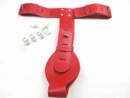 Wholesale Leather Female Chastity Belt Devices w Lock Red Women s Fetish Pants Underwear Erotic Panty Adult Sex Toys XLY473