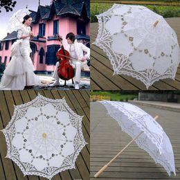 Wholesale 2015 Handmade Lace Parasols White Umbrella Wood Handle Sun Beach Wedding Party Decoration Shows Dance Bridal Accessories Cheap Hot