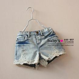 Wholesale Summer Children Denim Shorts Korean Girl Lace Shorts Kid s Jeans Hot Pants Size Factory Sale Child Clothing wave ruffles