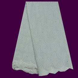 Wholesale High grade white embroidery African cotton lace fabric TC38 yds for party dress