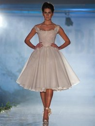 Wholesale 2015 Sexy Runway Short Lace Homecoming Dresses A Line Scoop Neck Cap Sleeve Paolo Sebastian Cheap Prom Party Gowns Cocktail Dress