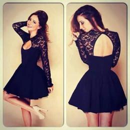 Wholesale 2016 Black Cocktail Dresses Lace Applique Keyhole Neck Short Homecoming Dress A line Hollow Back Cheap Mini Party Gowns