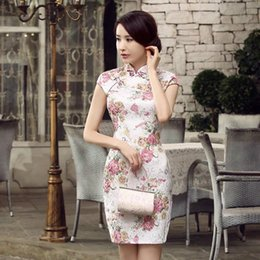 Wholesale 2015 Sexy Short Chinese Dresses chi pao Embroidery cheongsam Special Occasion Party Women Dresses In Stock size S M L XL XXL