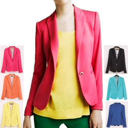 Wholesale 2015 spring New Women s Fashion Candy Colors Blazer Suit with Single Button Ladies Jacket Coat Plus Size Outerwear