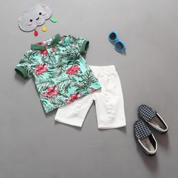Wholesale 2016 Baby Boy Clothing set kids Jungle shorts suit summer Hawaiian Flower boy polo Shirts shorts Suit Kids Boys Clothing Set for T