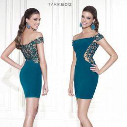 Wholesale Custom Off Shoulder Evening Dresses Short Tarik Ediz Formal Dresses Evening Gowns Lace Applique Sexy Sheath Prom Celebrity Dress