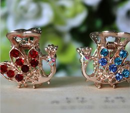 Wholesale Lady Hair Clamps Children Hair Clips Luxury Korean Style Fashion Hair Jewelry Hair Clamps Diamonds Rhinestone Peacock Clamps Alloy
